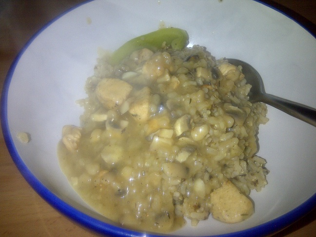 Chicken and Mushroom Sauce with Green Peppers and Rice