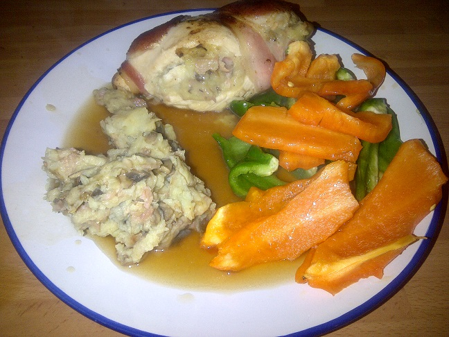 Chicken Stuffed with Bacon and Mushroom Mashed Potato