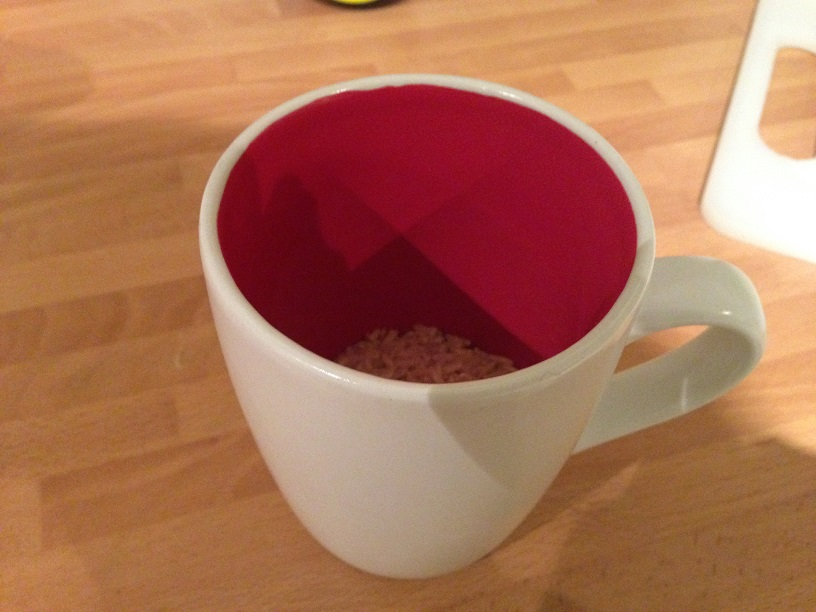 measure out less than half a cup of rice