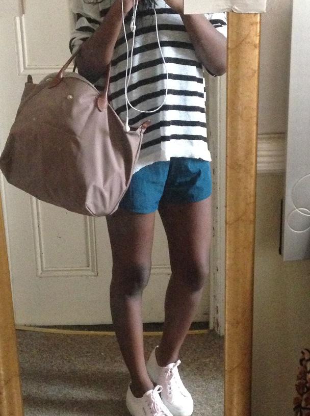 Sweater: H&M; Playsuit: American Apparel; Sneakers: Superga; Bag: Longchamp